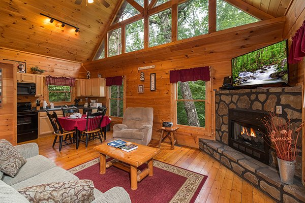 Living room with a fireplace and amazing natural light at Cabin Sweet Cabin, 1-bedroom cabin rental located in Gatlinburg
