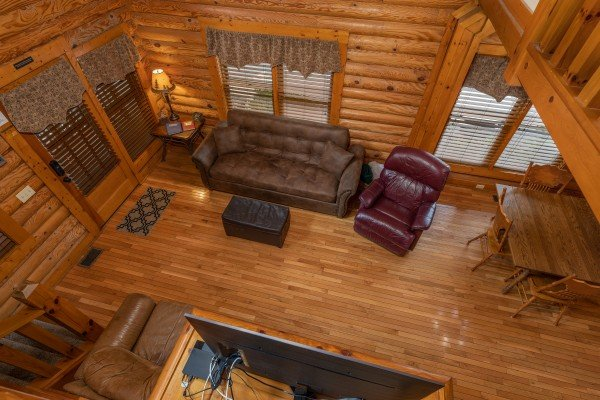 Looking down on the living room at Mountain Escape, a 2 bedroom cabin rental located in Pigeon Forge