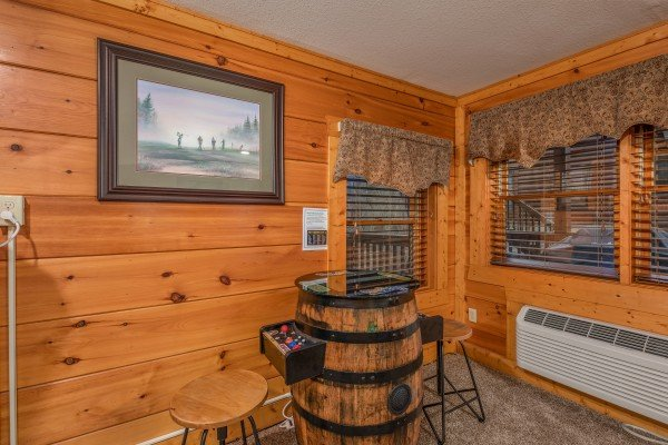 Barrel arcade game at Mountain Escape, a 2 bedroom cabin rental located in Pigeon Forge