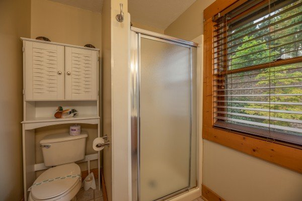 Bathroom with shower stall at Mountain Escape, a 2 bedroom cabin rental located in Pigeon Forge
