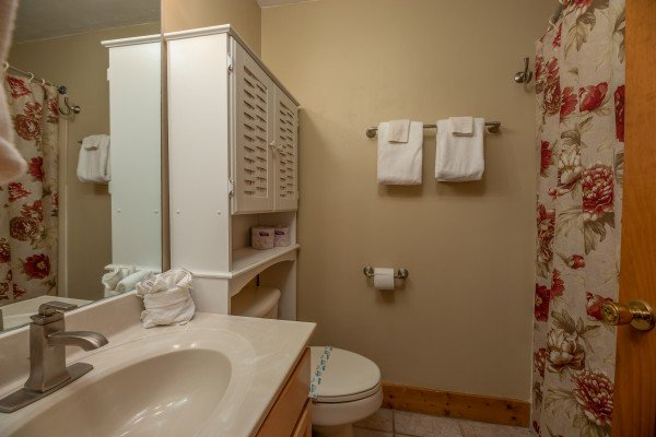 Bathroom at Mountain Escape, a 2 bedroom cabin rental located in Pigeon Forge