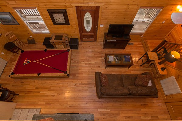 Main floor as viewed from above at Lucky Logs, a 3 bedroom cabin rental located in Gatlinburg