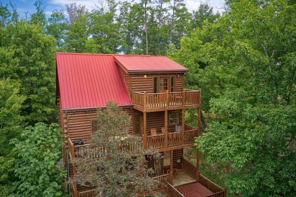 Back cabin exterior at Over the Rainbow, a 3 bedroom cabin rental located in Pigeon Forge