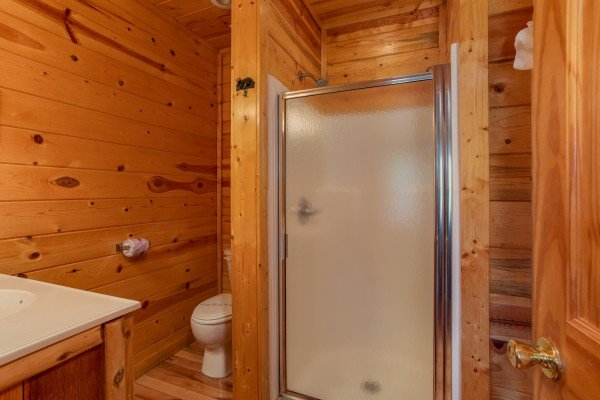 Bathroom with a shower at Over the Rainbow, a 3 bedroom cabin rental located in Pigeon Forge