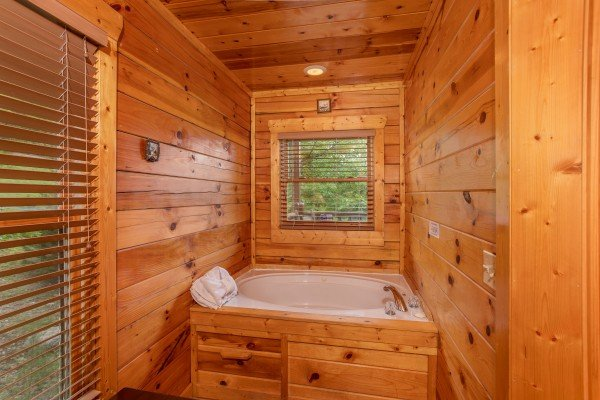 Jacuzzi in the first bedroom at Over the Rainbow, a 3 bedroom cabin rental located in Pigeon Forge