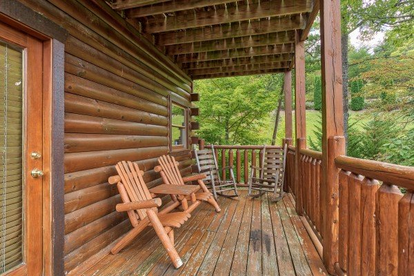 Deck off the first floor at Over the Rainbow, a 3 bedroom cabin rental located in Pigeon Forge