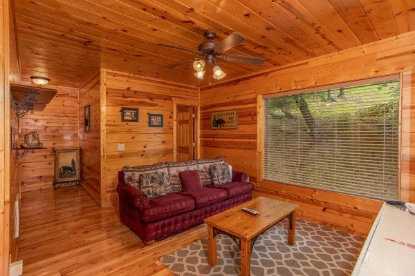 Sleeper sofa on the first floor at Over the Rainbow, a 3 bedroom cabin rental located in Pigeon Forge