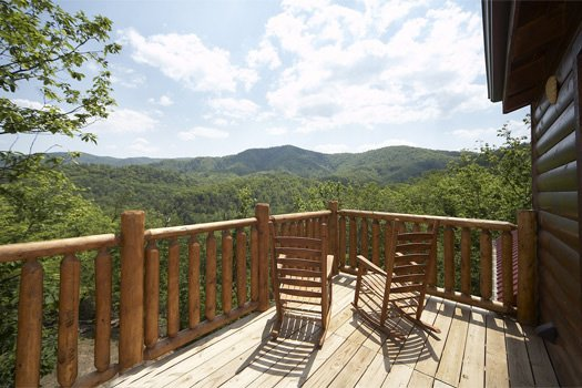 Third floor deck view of the Smoky Mountains at Over the Rainbow, a 3 bedroom cabin rental located in Pigeon Forge