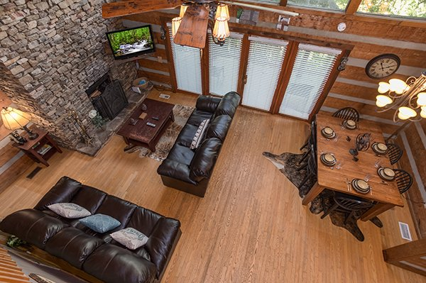 Looking down on the main floor at Soaring Heights, a 3 bedroom cabin rental located in Gatlinburg