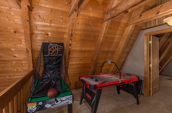 Air hockey and basketball game at Soaring Heights, a 3 bedroom cabin rental located in Gatlinburg