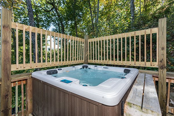 Hot tub on a deck at Soaring Heights, a 3 bedroom cabin rental located in Gatlinburg