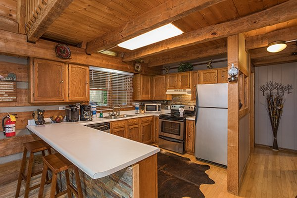 Kitchen with stainless appliances at Soaring Heights, a 3 bedroom cabin rental located in Gatlinburg