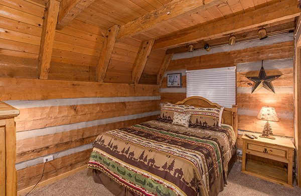 Loft bedroom at Soaring Heights, a 3 bedroom cabin rental located in Gatlinburg