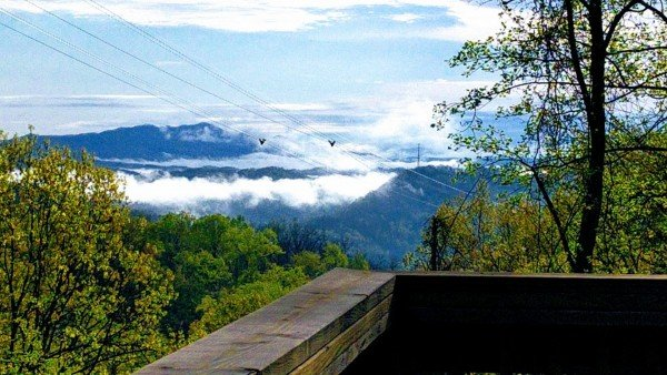 Smoky Mountains and aerial tramway views at Soaring Heights, a 3 bedroom cabin rental located in Gatlinburg