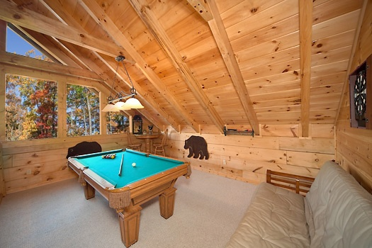 Lofted game room with pool table at Paws n' Claws, a 2 bedroom cabin rental located in Gatlinburg