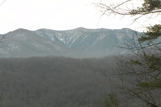 Snow seen on the Smoky Mountains from Highlander, a 4 bedroom cabin rental located in Gatlinburg