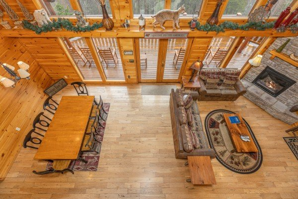 Looking down at the main floor at Rainbow's End, a 4 bedroom cabin rental located in Pigeon Forge