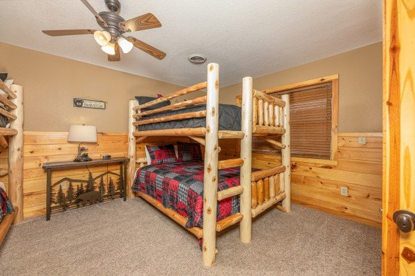 Bunk beds at Rainbow's End, a 4 bedroom cabin rental located in Pigeon Forge
