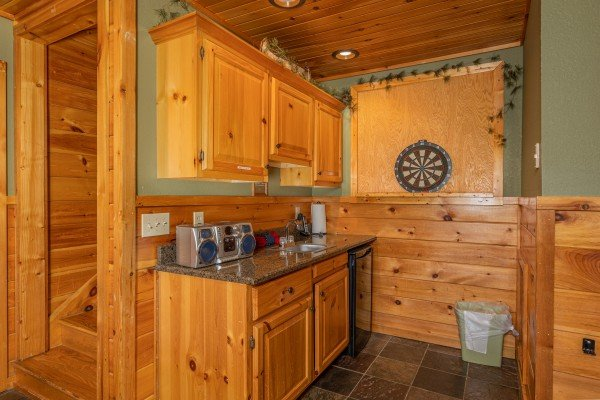 Dart board at Rainbow's End, a 4 bedroom cabin rental located in Pigeon Forge