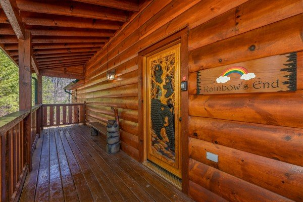 Front door & entry at Rainbow's End, a 4 bedroom cabin rental located in Pigeon Forge