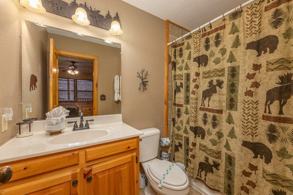 Bathroom at Rainbow's End, a 4 bedroom cabin rental located in Pigeon Forge