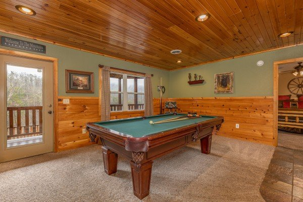 Pool table at Rainbow's End, a 4 bedroom cabin rental located in Pigeon Forge