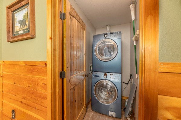 Stacked washer and dryer at Rainbow's End, a 4 bedroom cabin rental located in Pigeon Forge
