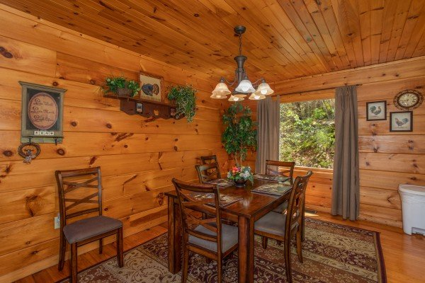 Dining space at Hillside Haven, a 1 bedroom cabin rental located in Pigeon Forge