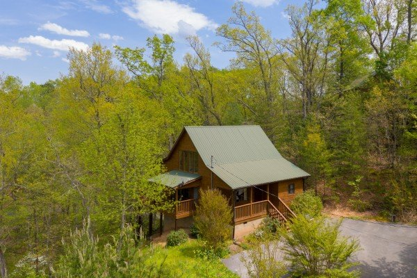 Looking back at the hillside and cabin at Hillside Haven, a 1 bedroom cabin rental located in Pigeon Forge