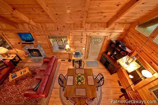 Kitchen view from catwalk at Black Bear Magic, a 4-bedroom cabin rental located in Gatlinburg