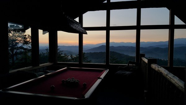 Sunset as viewed from the game loft at Mountain Glory, a 1 bedroom cabin rental located in Pigeon Forge