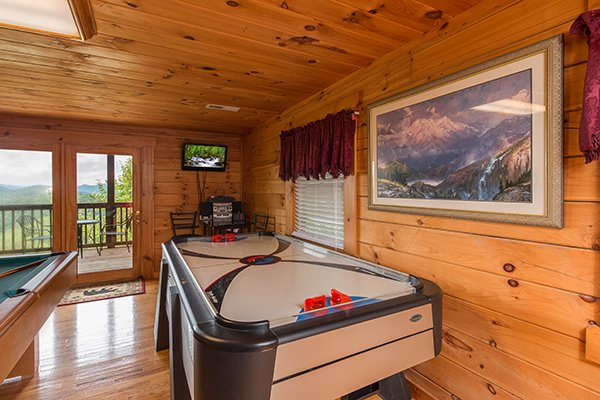 air hockey table in game room at 1 amazing view a 2 bedroom cabin rental located in pigeon forge