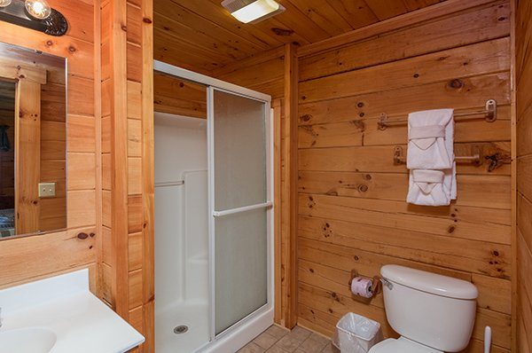 bathroom with walk in shower at 1 amazing view a 2 bedroom cabin rental located in pigeon forge
