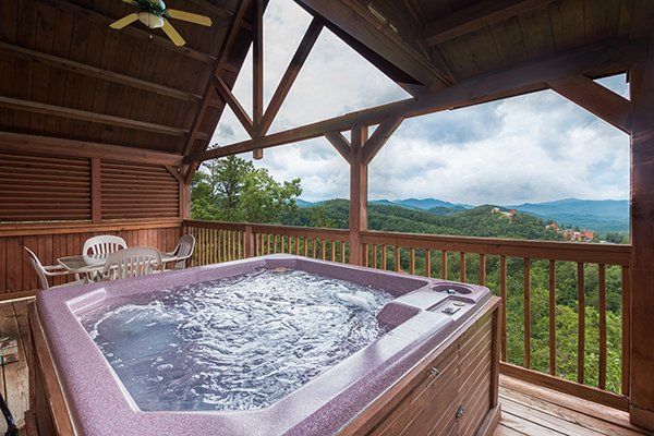 View from the hot tub at 1 Amazing View, a 2 bedroom cabin rental located in Pigeon Forge