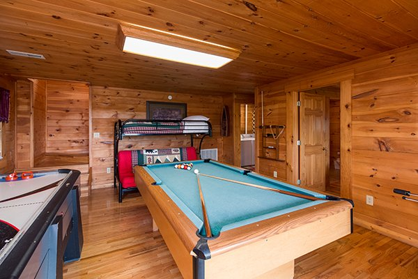 game room with pool table at 1 amazing view a 2 bedroom cabin rental located in pigeon forge