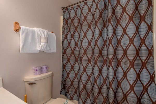 Third bathroom with a tub and shower at Burrow Inn, a 4-bedroom cabin rental located in Pigeon Forge