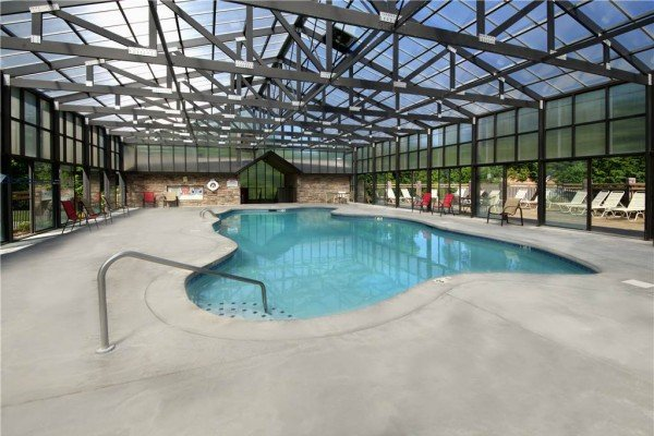 Indoor pool at Hidden Springs Resort at Burrow Inn, a 4-bedroom cabin rental located in Pigeon Forge