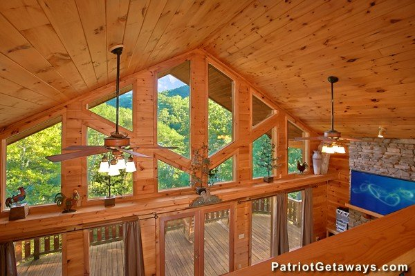 Vaulted ceiling as viewed from the upper floor at Pot O' Gold, a 4 bedroom cabin rental located in Pigeon Forge