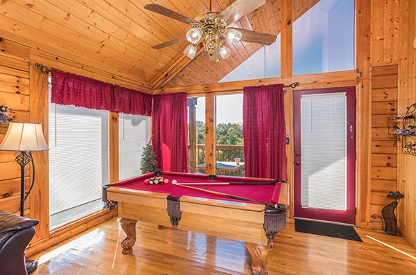 Pool table at I Do, a 1 bedroom cabin rental located in Pigeon Forge