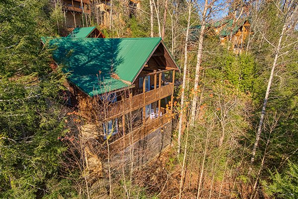 Aerial drone view of Mountain Top View, a 3 bedroom cabin rental located in Gatlinburg