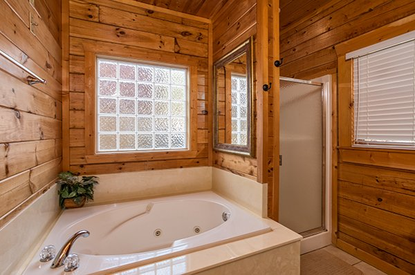 Jacuzzi tub and shower in a bathroom at Mountain Top View, a 3 bedroom cabin rental located in Gatlinburg