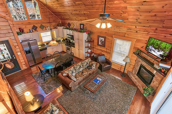 Overhead view of the open main floor at Mountain Top View, a 3 bedroom cabin rental located in Gatlinburg