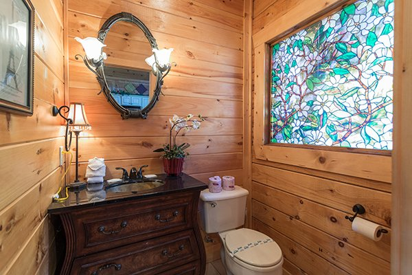 Bathroom on the main floor at Mountain Top View, a 3 bedroom cabin rental located in Gatlinburg