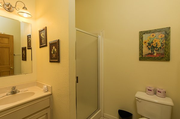 Bathroom with a walk in shower at Mountain Top View, a 3 bedroom cabin rental located in Gatlinburg