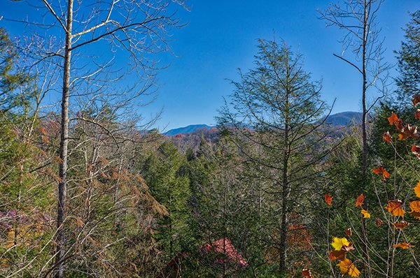 Mountain views seen from the deck at Mountain Top View, a 3 bedroom cabin rental located in Gatlinburg