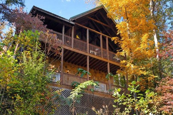 Rear exterior view at Mountain Top View, a 3 bedroom cabin rental located in Gatlinburg