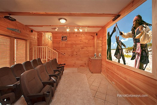theater room at patriot pointe a 5 bedroom cabin rental located in pigeon forge
