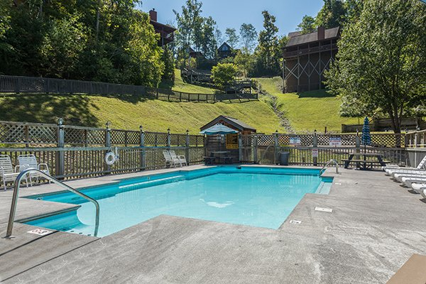 Resort pool access for guests of Lake Life, a 4 bedroom cabin rental located in Sevierville