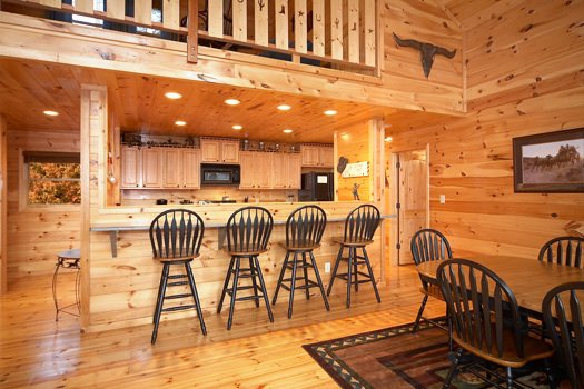 Dining room bar area at True Grit, a 5 bedroom cabin rental located in Pigeon Forge