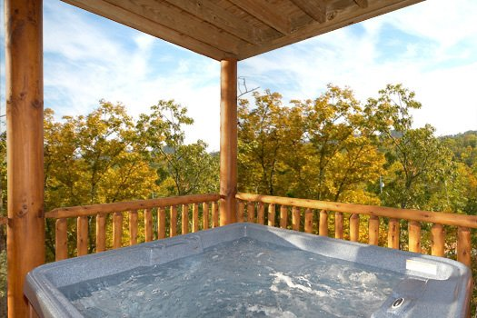 First floor hot tub at True Grit, a 5 bedroom cabin rental located in Pigeon Forge